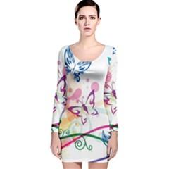 Butterfly Vector Art Long Sleeve Velvet Bodycon Dress