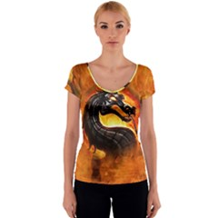 Dragon And Fire Women s V-Neck Cap Sleeve Top