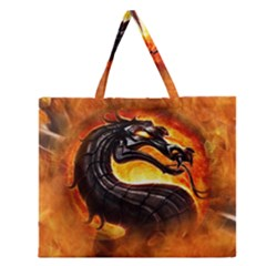 Dragon And Fire Zipper Large Tote Bag