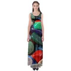 Stones Colors Pattern Pebbles Macro Rocks Empire Waist Maxi Dress