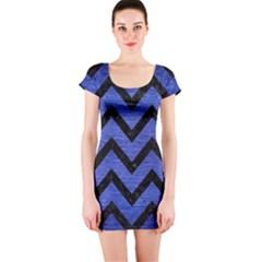 Chevron9 Black Marble & Blue Brushed Metal (r) Short Sleeve Bodycon Dress
