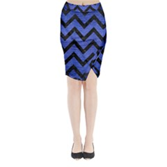 Chevron9 Black Marble & Blue Brushed Metal (r) Midi Wrap Pencil Skirt