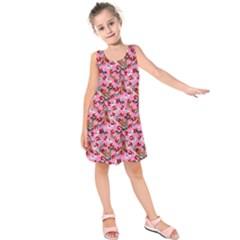 Pink Dogs Pattern Kids  Sleeveless Dress