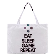 Eat sleep game repeat Medium Tote Bag