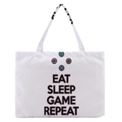 Eat sleep game repeat Medium Zipper Tote Bag