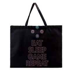 Eat sleep game repeat Zipper Large Tote Bag