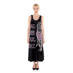 Eat, sleep, bark, repeat pug Sleeveless Maxi Dress