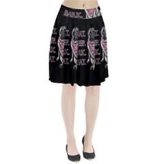 Eat, sleep, bark, repeat pug Pleated Skirt