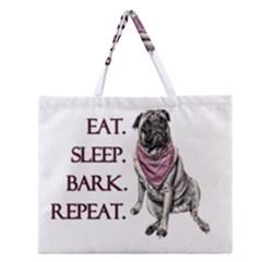 Eat, sleep, bark, repeat pug Zipper Large Tote Bag