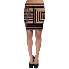 Wooden Pause Play Paws Abstract Oparton Line Roulette Spin Bodycon Skirt
