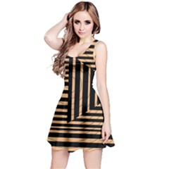 Wooden Pause Play Paws Abstract Oparton Line Roulette Spin Reversible Sleeveless Dress