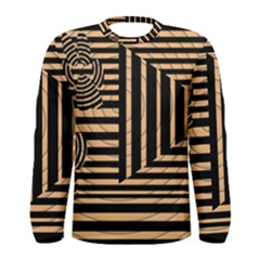 Wooden Pause Play Paws Abstract Oparton Line Roulette Spin Men s Long Sleeve Tee
