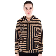 Wooden Pause Play Paws Abstract Oparton Line Roulette Spin Women s Zipper Hoodie