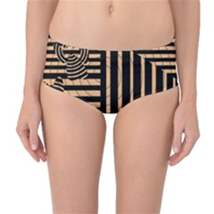 Wooden Pause Play Paws Abstract Oparton Line Roulette Spin Mid-Waist Bikini Bottoms