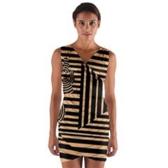 Wooden Pause Play Paws Abstract Oparton Line Roulette Spin Wrap Front Bodycon Dress