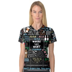 Book Quote Collage Women s V-Neck Sport Mesh Tee