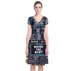 Book Quote Collage Short Sleeve Front Wrap Dress