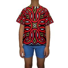 Traditional Art Pattern Kids  Short Sleeve Swimwear