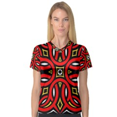 Traditional Art Pattern Women s V-Neck Sport Mesh Tee
