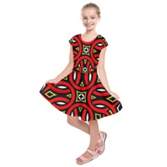 Traditional Art Pattern Kids  Short Sleeve Dress