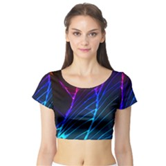Cracked Out Broken Glass Short Sleeve Crop Top (Tight Fit)
