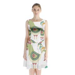 Easter Sleeveless Chiffon Waist Tie Dress