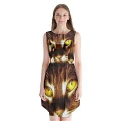 Cat Face Sleeveless Chiffon Dress