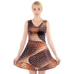 Snake Python Skin Pattern V-Neck Sleeveless Skater Dress