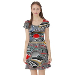 Changing Forms Abstract Short Sleeve Skater Dress