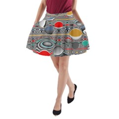 Changing Forms Abstract A-Line Pocket Skirt