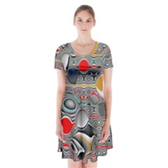 Changing Forms Abstract Short Sleeve V Neck Flare Dress