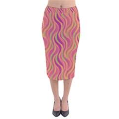 Pattern Velvet Midi Pencil Skirt