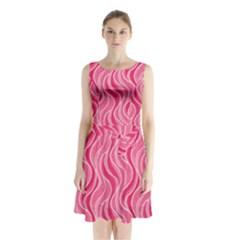 Pattern Sleeveless Chiffon Waist Tie Dress