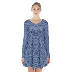 Intricate Geometric Print Long Sleeve Velvet V-neck Dress