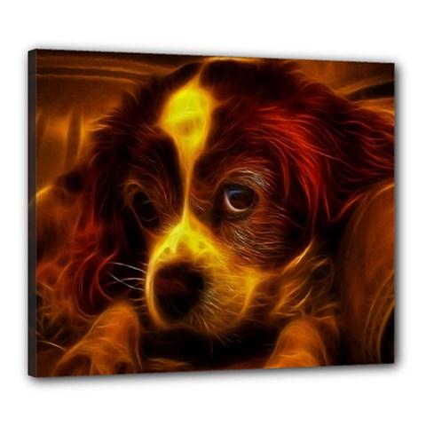 Cute 3d Dog Canvas 24  x 20