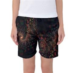 Multicolor Fractals Digital Art Design Women s Basketball Shorts