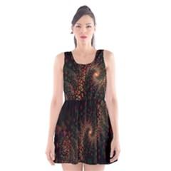 Multicolor Fractals Digital Art Design Scoop Neck Skater Dress