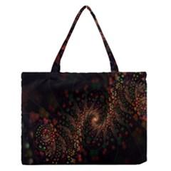 Multicolor Fractals Digital Art Design Medium Zipper Tote Bag
