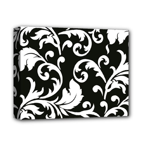Vector Classical  Traditional Black And White Floral Patterns Deluxe Canvas 14  x 11