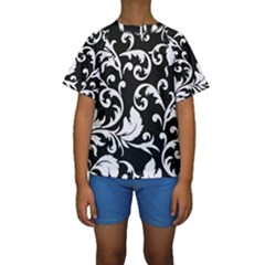 Vector Classical  Traditional Black And White Floral Patterns Kids  Short Sleeve Swimwear