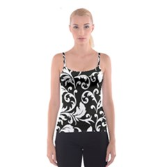 Vector Classical  Traditional Black And White Floral Patterns Spaghetti Strap Top