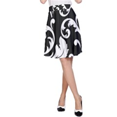 Vector Classical  Traditional Black And White Floral Patterns A-Line Skirt