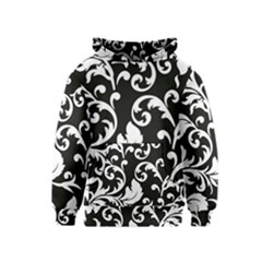 Vector Classical  Traditional Black And White Floral Patterns Kids  Pullover Hoodie