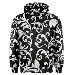 Vector Classical  Traditional Black And White Floral Patterns Men s Zipper Hoodie