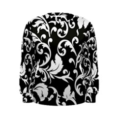 Vector Classical  Traditional Black And White Floral Patterns Women s Sweatshirt