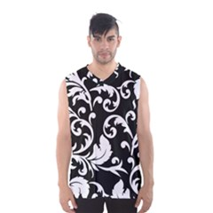 Vector Classical  Traditional Black And White Floral Patterns Men s Basketball Tank Top