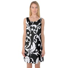 Vector Classical  Traditional Black And White Floral Patterns Sleeveless Satin Nightdress