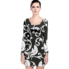 Vector Classical  Traditional Black And White Floral Patterns Long Sleeve Velvet Bodycon Dress