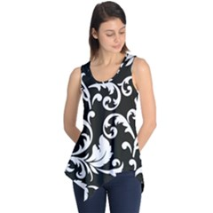 Vector Classical  Traditional Black And White Floral Patterns Sleeveless Tunic