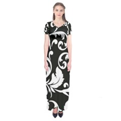 Vector Classical  Traditional Black And White Floral Patterns Short Sleeve Maxi Dress
